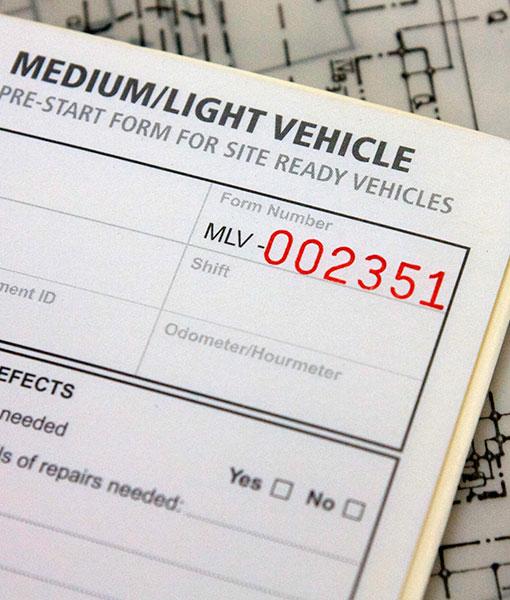 Medium Light Vehicle Pre Start Checklist Books