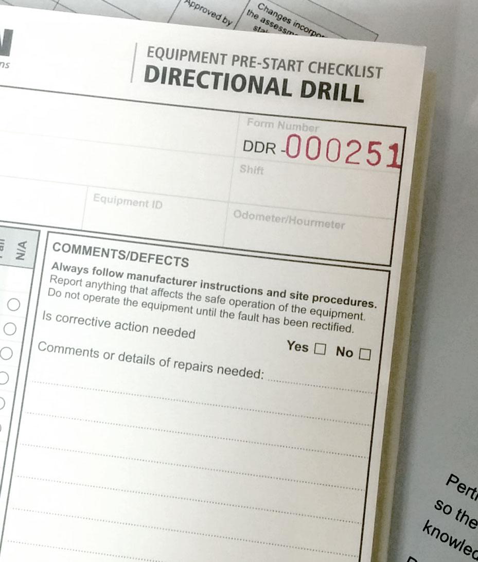 Horizontal Directional Drill Pre Start Checklist Books | Pertrain ...