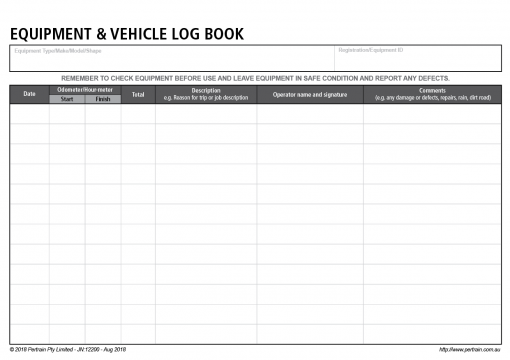 Equipment and Vehicle Log Book Inside page.