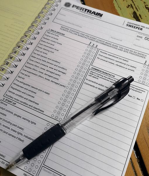 Pre-start checklist books for Sweeper